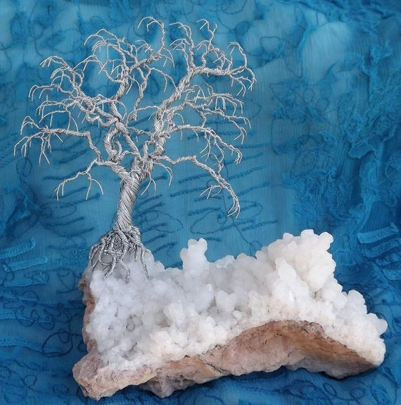 Silver Bonsai on Aragonite Crystal