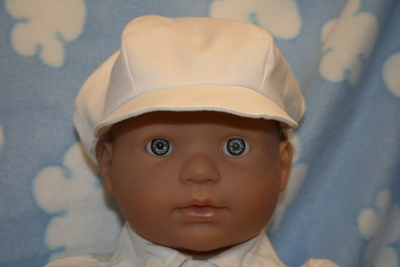 White Newsboy Hat and Shoes, Sizes Newborn to 18 months, Christening, Baptism, Dedication, Easter, Special Occasion
