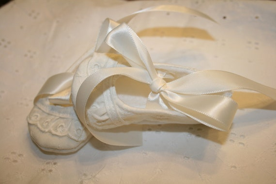 Ivory Ballerina Shoes, Sizes Newborn to 18 mo, Christening, Baptism, Dedication, Easter, Special Occasion