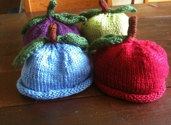 Hand Knit Baby hat - Fall Fruit Baby  Hat