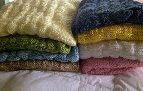 Hand knit Baby Blanket -Basket Weave Pattern - made to order - many colors