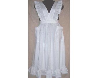Medium/Large Victorian Bib Apron longer length white
