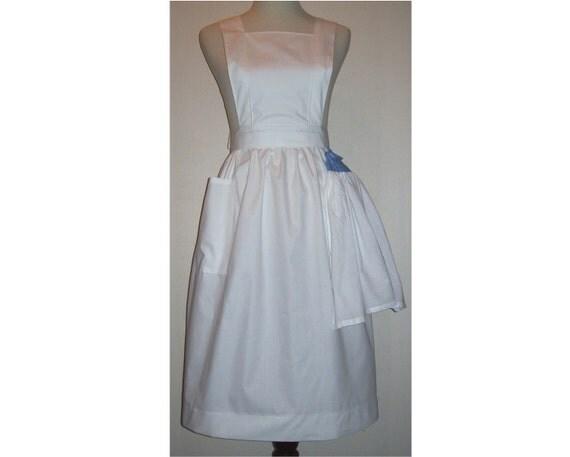 Plus size 3X No-Nonsense Bib Apron with kitchen towel white or gingham check fabric