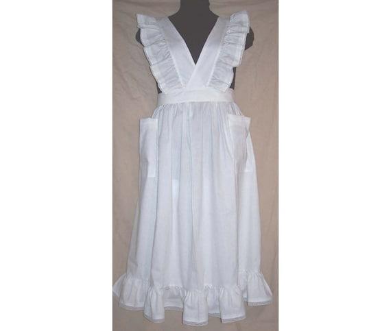 Plus size 1X Victorian Bib Apron longer length white