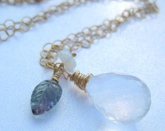 Iolite, fluorite, opal necklace in 14k gold fill --Let Me Let Go--