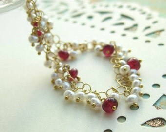 Freshwater pearl, ruby necklace in 14k gold fill --Ruby Tuesday--