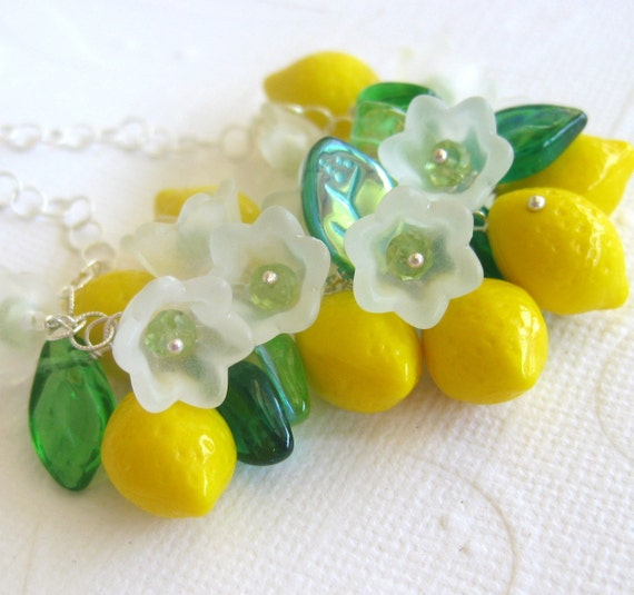 Lemon glass bead, peridot necklace with Czech glass leaves sterling silver fruit flowers bright yellow retro jewelry--Summer of Love--