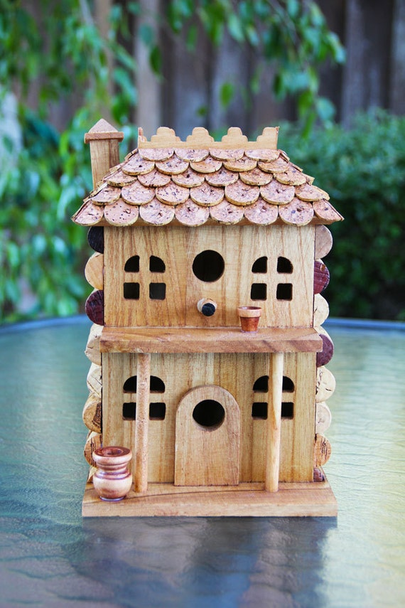 "Birdhouse ""Two Story with Porch "", wood and wine corks."