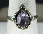 Fancy Petite Sterling Silver Oval Amethyst Ring Size 7 1/4