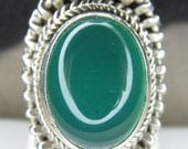 Sterling Silver Green Chrysoprase Wide Ring Size 6 1/2