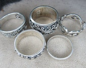 Set Of Five Designed Sterling Silver Rings Size 5 1/2 - 8