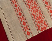 "40's Vintage Ethnic Table Runner Red Textile Hand Woven Home Decor 12"" x 29"""