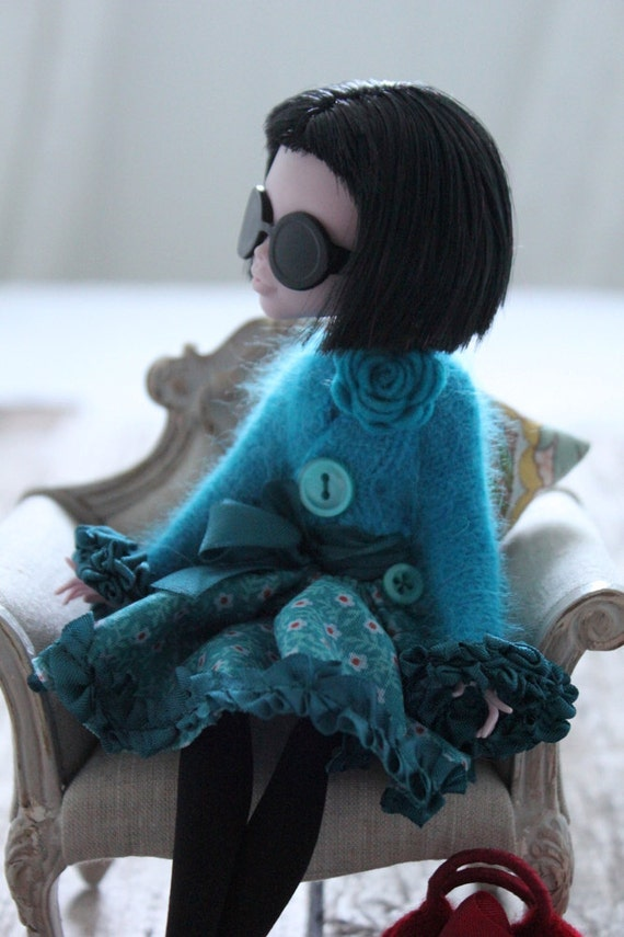 For Monster High - Bright Turquoise Fluffy Angora Cardigan