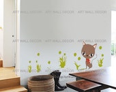 Kitten Cat in the grass - PEEL and STICK Removable Vinyl Wall Decal, Wall Sticker, Wall Decor (FREE shipping)