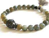 Green Labradorite Buddha Bracelet
