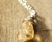 """Natural citrine pendant, silver plated chain18""""-21"""" necklace"""
