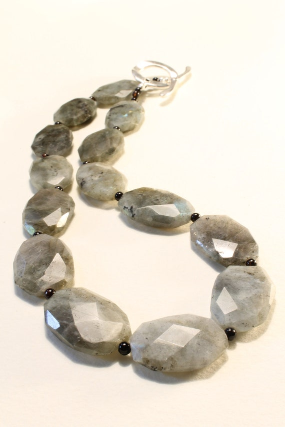 """Chunky Labradorite with Black Agate beads,Energy Healing,20"""" long Necklace."""