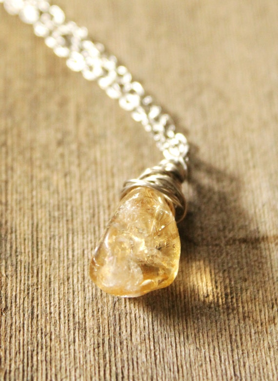 "Natural citrine pendant, silver plated chain18""-21"" necklace"