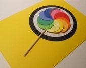 Rainbow Lollipop Blank Card