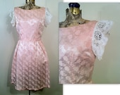 RESERVED Eco Fashion Pink Dress with Lace Sleeves, 1960s Satin Brocade