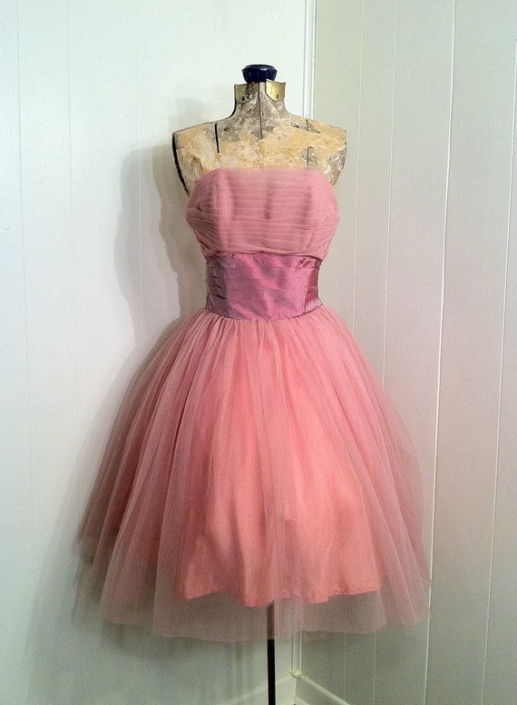 Vintage FRED PERLBERG Dance Originals 1950s Swing Pink Honeysuckle Dress, Upcycled