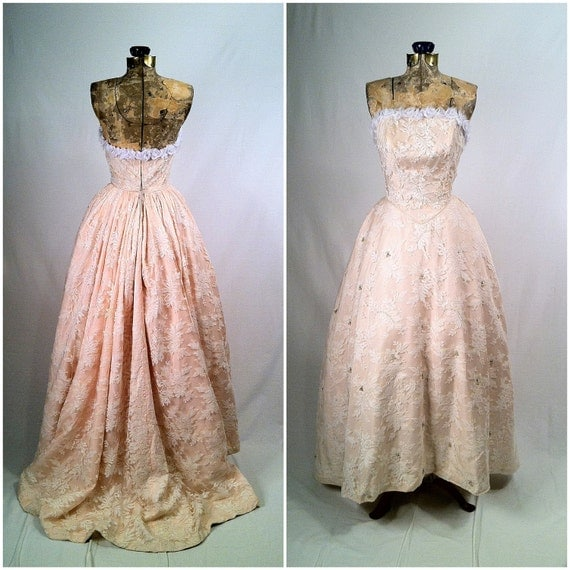 items similar to vintage 1950s white lace and pink gown