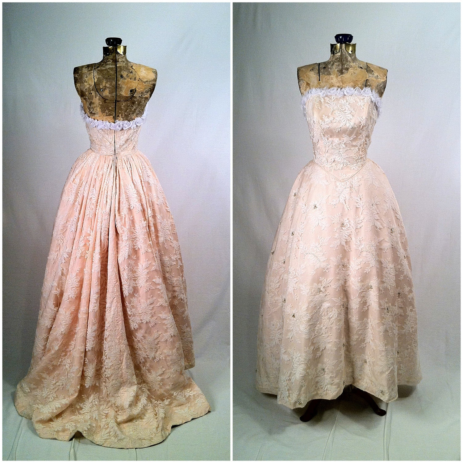 Vintage Wedding Dresses Toronto: Items Similar To Vintage 1950s White Lace And Pink Gown