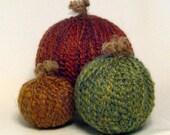 Three Yarn Pumpkins - Orange, green, golden - Fall Decor