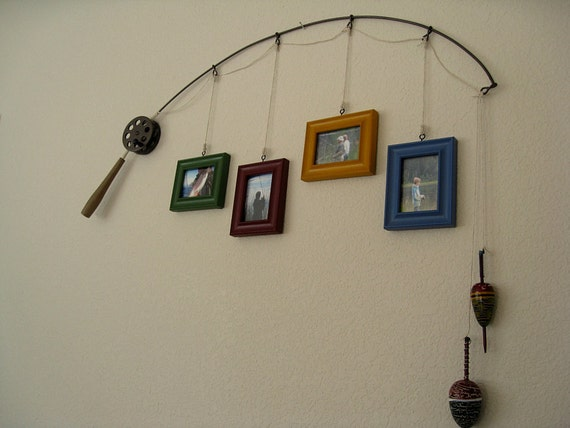 fishing pole picture frame metal brown 4 by dabbleddetails