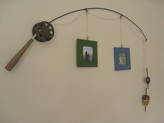 Fishing Pole Picture Frame - Metal Brown - 2 Frames