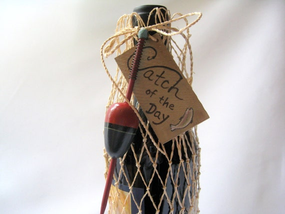 Fish Net Wine or Gift  Bag - Catch of the Day with Bobber