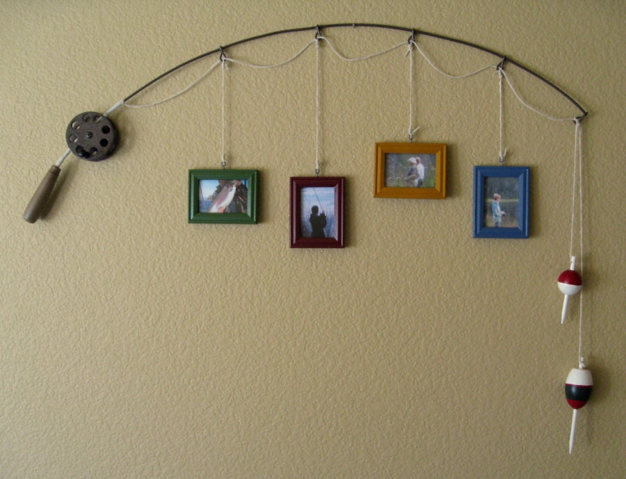 fishing pole picture frame metal brown 4 frames