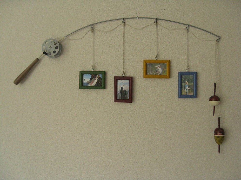 fishing pole picture frame metal silver 4 frames