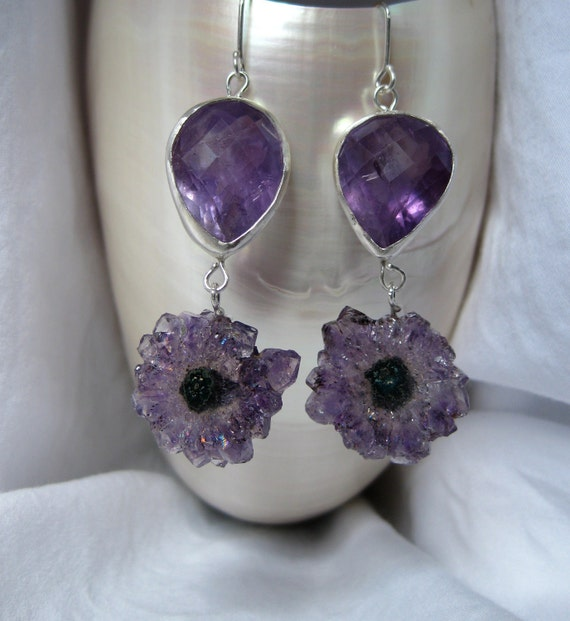 BIG Amethyst & Stalactite Earrings