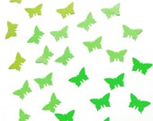 Handpunched butterflies in the shades of green - confetti