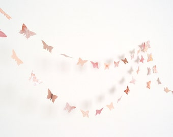 Peach and antique pink paper butterflies garlands - wedding party decoration, crib decoration