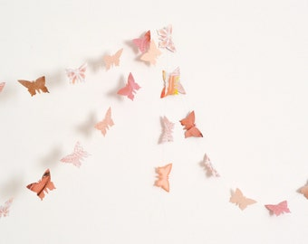 Peach and antique pink paper butterflies garland - wall decor, wedding decoration