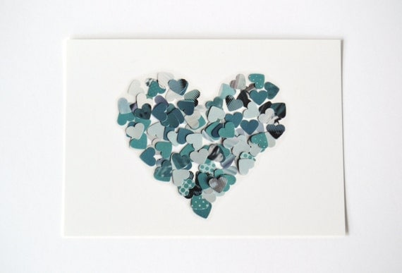 Postcard with slate grey heart