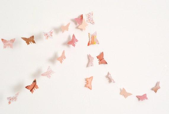 Peach and antique pink paper butterflies garland - wall decor, wedding decoration