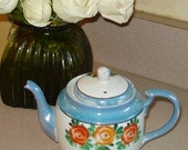Japanese Blue and White Teapot With Flowers