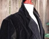 Vintage Black Velvet Fitted Single Breasted Blazer - Women's Small / Size 6