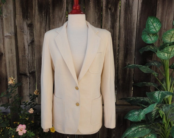 Ivory White Wool / Blend Fitted Blazer - Women's Petite / Size 9/10