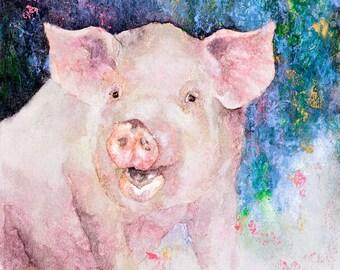 Pig Watercolor Notecard - Pink - Watercolor Notecard - Blank Inside