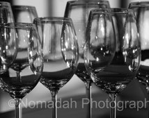 Wine glass photo, Stemware, Black and white fine art photography, Kitchen wall art, Restaurant bar, New Year, Long stem, 2014 toasting