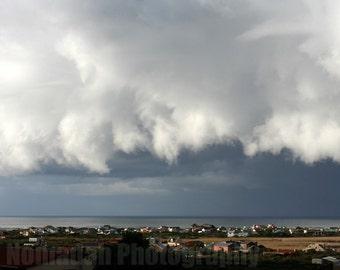 Dramatic storm cloud, landscape photography, nature print, grey rain cloud photograph, sea