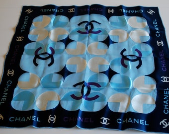Vintage CHANEL Silk blend Scarf in Navy and Powder Blue