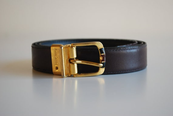 Vintage Pierre Cardin Brown Leather Belt with Gold Red and Black Buckle