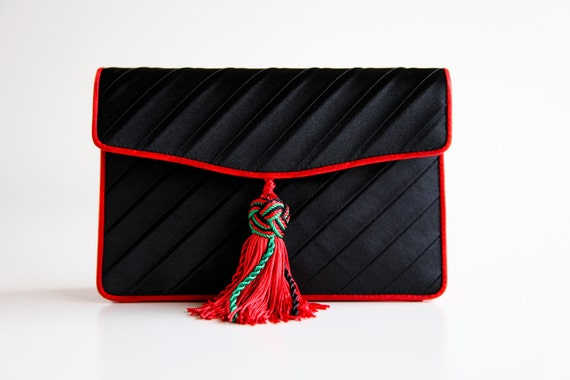 Black Satin Bottega Veneta Envelope Flap Purse with Red Piping and Red Black and Green Rope Strap