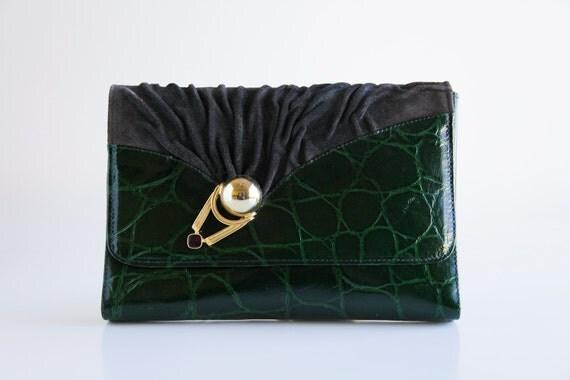 Forest Green Alligator and Suede LUIGI BRIGLIA Clutch Bag w/ Detachable Strap