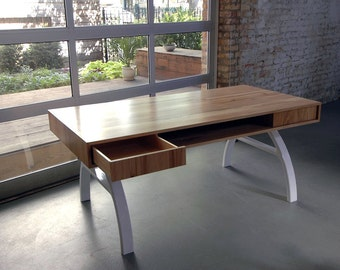 Reclaimed Mid-Century Modern Wood and Steel Desk by moss design